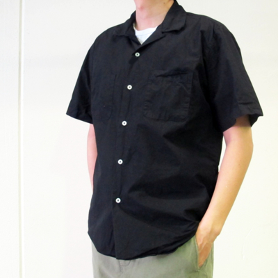 SALE!! (men's) LOOSE FIT OPEN COLLAR SHIRTS black (mshi017)