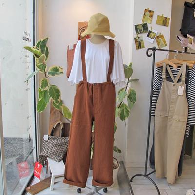 (lady's) khakito / カーキト イージーパンツサロペット brown (Lbt051)