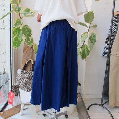 (lady's) Hunch / ハンチ ヨーク切り替えフレアースカート blue (Lbt053)
