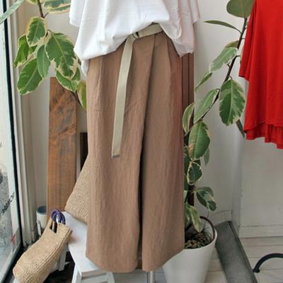 (lady's) Hunch / ハンチ リネンライク ラップフラップ ワイドパンツ beige (Lbt043)