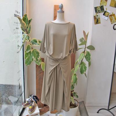 (lady's) mjuka / ミューカ 2way カットソーワンピース beige (Lop080)