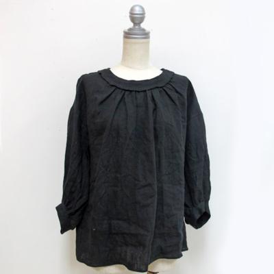 (lady's) リネンギャザーブラウス black (Lshi002)