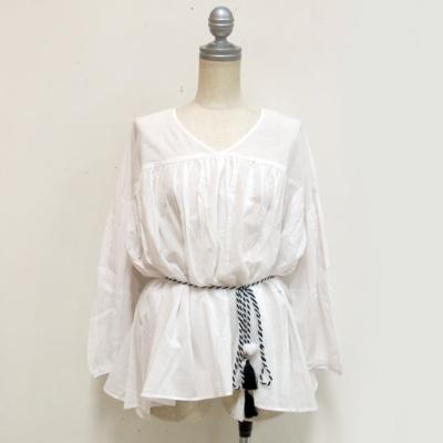 (lady's) タッセルベルト付きブラウス white (Lshi007)