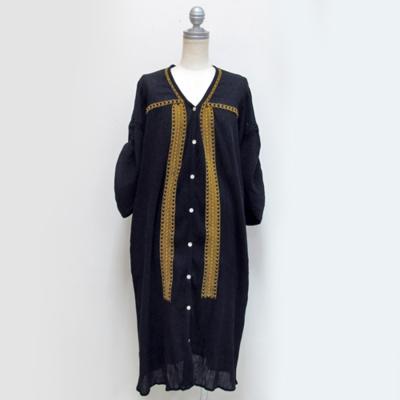 SALE!! (lady's) 刺繍シャツワンピース black (Lop003)
