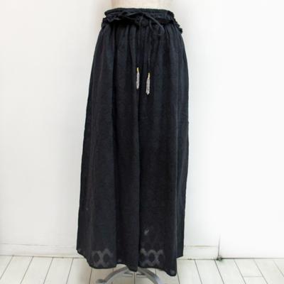 (lady's) ウエストフリルイージーワイドパンツ black (Lbt003)