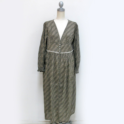 SALE!! (lady's) 総柄シャツワンピース gray beige (Lop006)