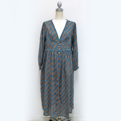 SALE!! (lady's) 総柄シャツワンピース turquoise blue (Lop007)