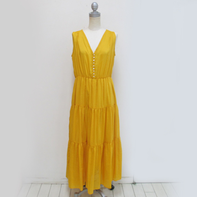 (lady's) ノースリーブティアードワンピース yellow (Lop010)