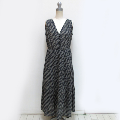 (lady's) 総柄ティアードワンピース navy (Lop012)