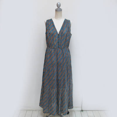 SALE!! (lady's) 総柄ティアードワンピース turquoise blue (Lop014)