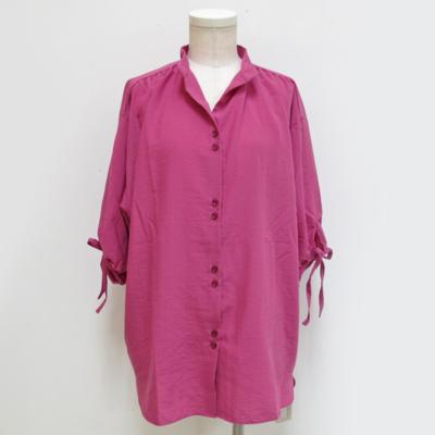 (lady's) パフスリーブチュニックブラウス pink purple (Lshi009)