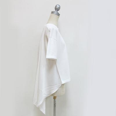 (lady's) ニット×サテン プルオーバー white (Lct006)