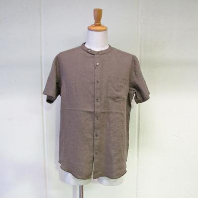 (men's) バンドカラーリネンシャツ mocha (mshi018)