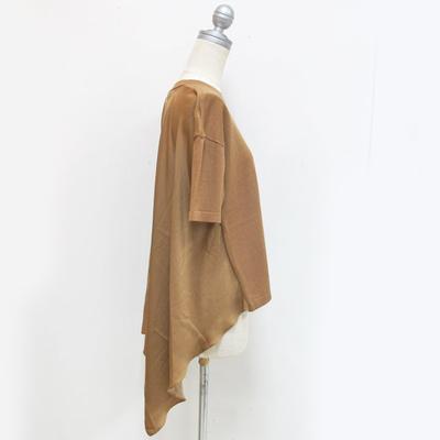 (lady's) ニット×サテン プルオーバー beige (Lct007)