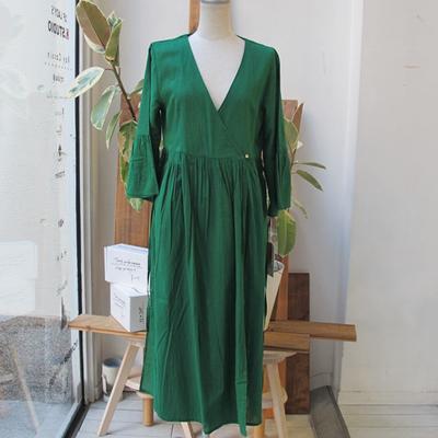 (lady's) カシュクールロングカーデ green (Lop014)