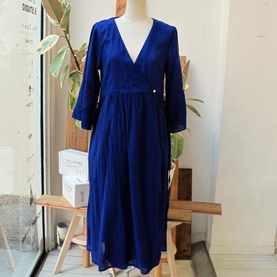 (lady's) カシュクールロングカーデ blue (Lop015)