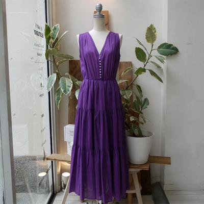 (lady's) audrey and john wad/オードリーアンドジョンワッド ノースリーブティアードワンピース purple (Lop019)