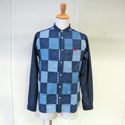 (men's) s&nd/セカンド デニムパッチワークシャツ navy (mshi020)