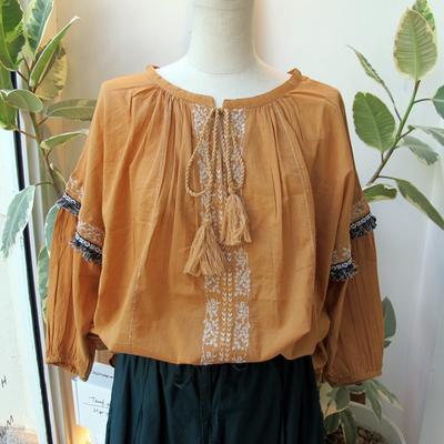 (lady's) Hunch/ハンチ コットンボイル金糸刺繍ブラウス beige (Lshi022)