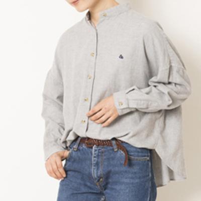 (lady's) s&nd/セカンド ビエラフレアシルエットシャツ gray (Lshi023)