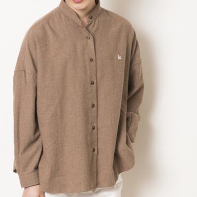 (lady's) s&nd/セカンド ビエラ フレアシルエットシャツ brown (Lshi024)