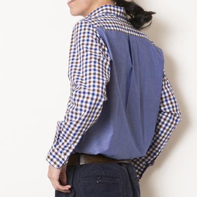 (men's) s&nd/セカンド カラーギンガムチェックシャツ blue (mshi022)