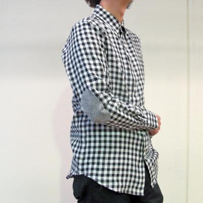 (men's) ギンガムチェックリネンシャツ (mshi004)