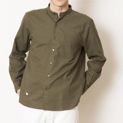 (men's) s&nd/セカンド 綿麻バンドカラーシャツ khaki (mshi026)