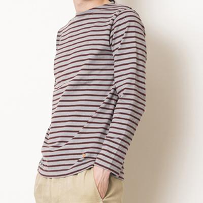 (men's) s&nd/セカンド バスクボーダーシャツ gray×brown (mct027)