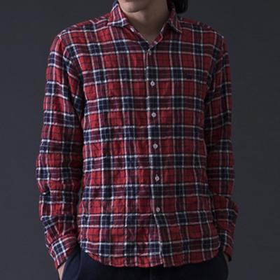 (men's) s&nd/セカンド ヘリンボーンチェックシャツ red (mshi027)