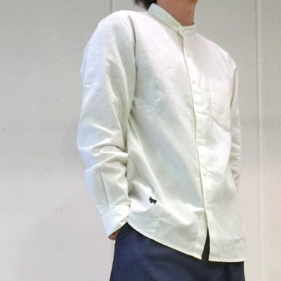 (men's) s&nd/セカンド 綿麻バンドカラーシャツ white (mshi028)