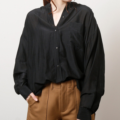 (lady's) mjuka/ミューカ コットンシルクスタンドカラーシャツ black (Lshi025)