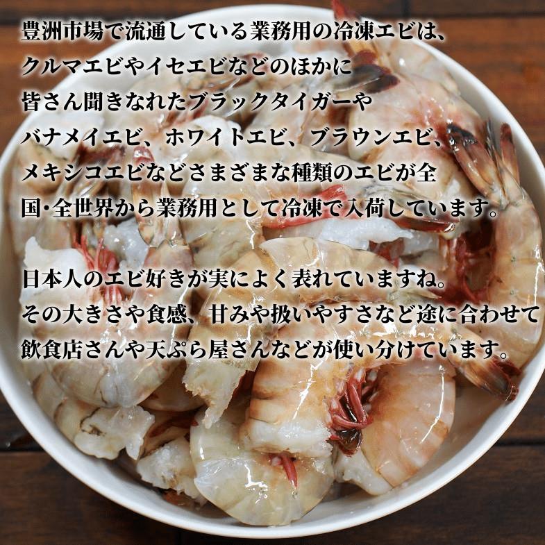 豊洲市場で流通している業務用の冷凍エビは、クルマエビやイセエビなどのほかに皆さん聞きなれたブラックタイガーやバナメイエビ、ホワイトエビ、ブラウンエビ、メキシコエビなどさまざまな種類のエビが全国・全世界から業務用として冷凍で入荷しています。日本人のエビ好きが実によく表れていますね。その大きさや食感、甘みや扱いやすさなど途に合わせて飲食店さんや天ぷら屋さんなどが使い分けています。