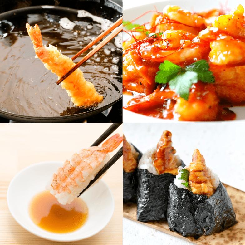 フラワー海老の調理例:海老の天ぷらおにぎり、海老の天ぷら、エビチリ、海老寿司