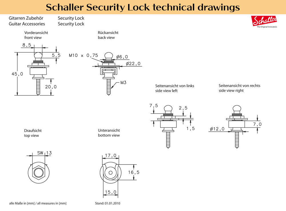 Schaller Security Lock 技術図面