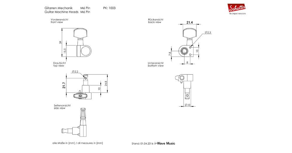Schaller M6 Pin図面