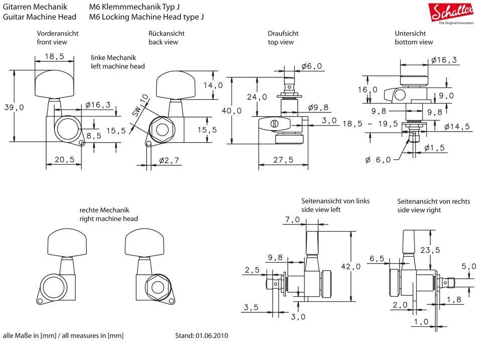Schaller M6 135 Locking 6L (M6LB)図面