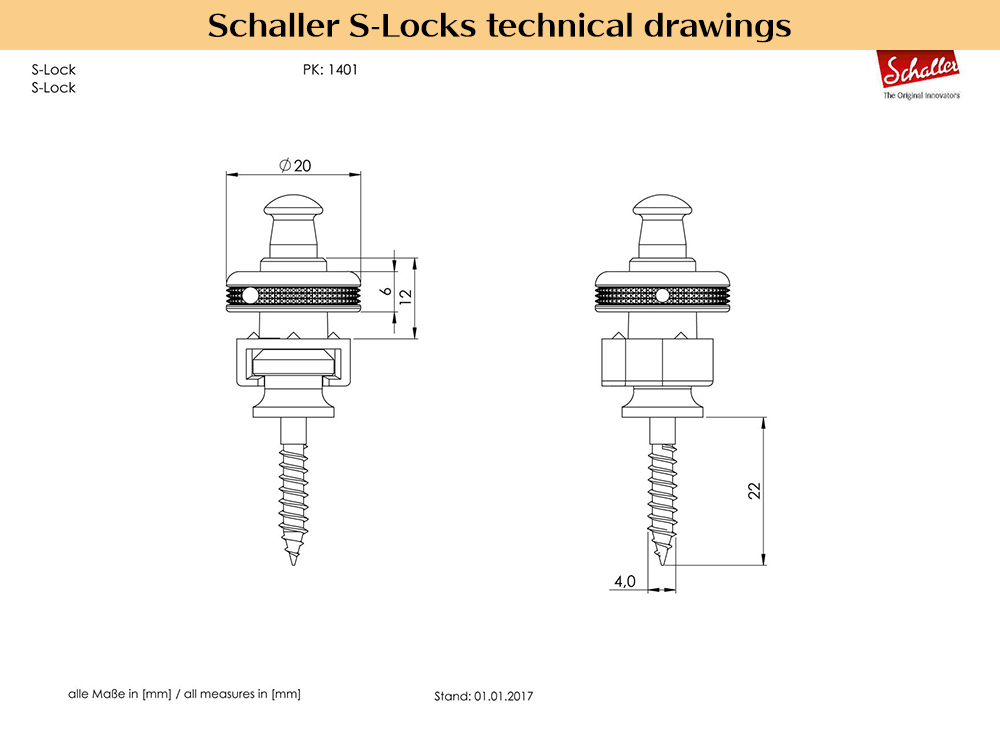 Schaller S-Locks 技術図面
