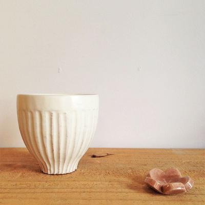 粉引 湯呑 縞粉引 白 シンプル カップ