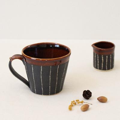 マグカップ アメ釉+黒 ストライプ  信楽焼 日本製 陶器