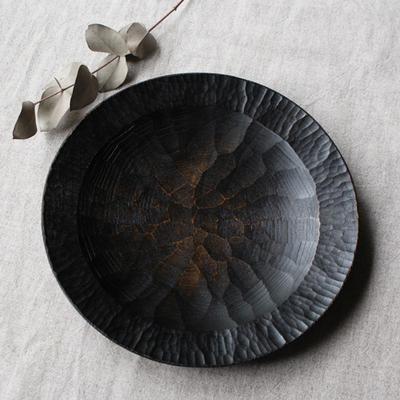 漆器 アルダー拭漆 木製食器 丸皿 21cm 7寸 甲斐幸太郎