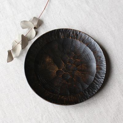 漆器 木製食器 丸皿 アルダー拭漆 18cm 6寸 甲斐幸太郎