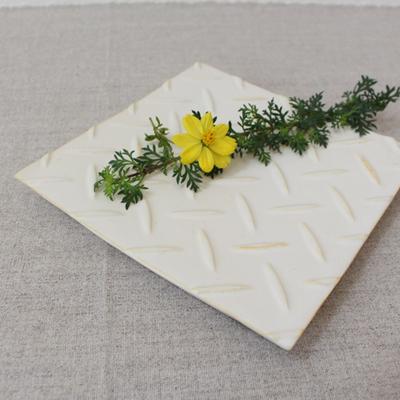 縞陶板 プレート 角皿 三宅直子 16cm 正方形 陶器
