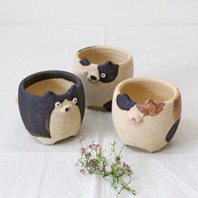 植木鉢 猫 小 かわいい 動物 利十郎窯