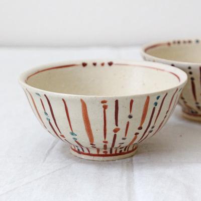 玉十草 めし碗 手作りお茶碗 ストライプ 11.5cm 廣川みのり
