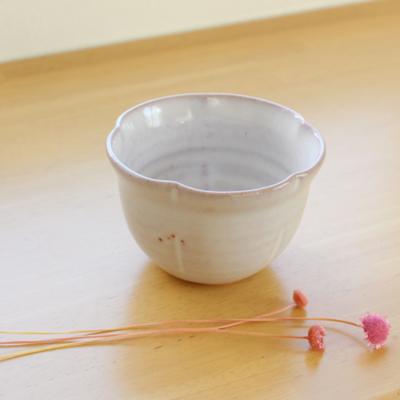 丸湯呑 萩焼 花カップ 小鉢 白