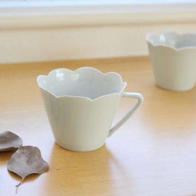 コーヒーカップ 花びら 白磁 陶峰窯