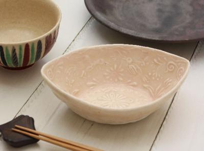 ピンク小鉢L 廣川みのり 舟形 和食器 鳥模様