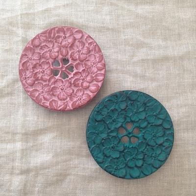 南部鉄器 瓶敷き 桜 10.5cm 桜赤/桜緑