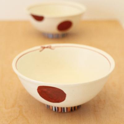 絵付け お茶碗 水玉 ドット 赤 廣川みのり